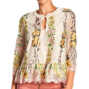 NWTCupcakes & Cashmere Floral Mesh Embroidered Top